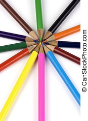 Colored Pencil - Some colored pencil arranged in a circle.