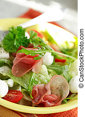 Healthy salad with gammon and cheese