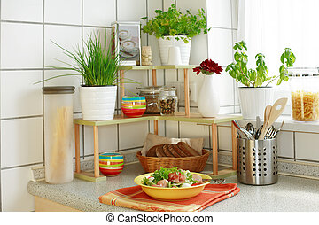 Kitchen interior with small shelf with pot-herb and kitchen...