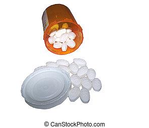 pain killer - prescription pain killer on white back ground