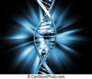 DNA abstract - 3D render of DNA strands on abstract...