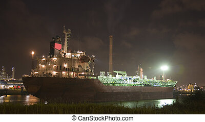 Ship at night 1 - Ship at night in the Port of Rotterdam,...