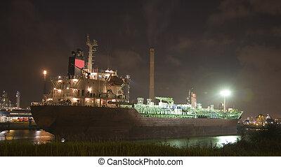 Ship at night 1 - Ship at night in the Port of Rotterdam,...