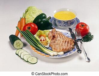 Beefsteak - Rich beefsteak menu with miscellaneous...