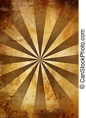 warm vintage background with rays - great old grunge paper...