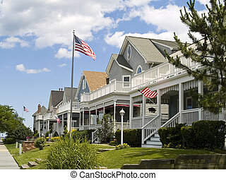 Americana - A neighborhood of victorian style homes near the...