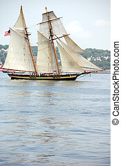 Tall Ship - Tall masted schooner under full sail