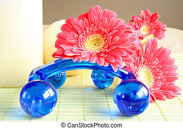 Blue balls - Blue massage balls used in spa and flowers