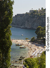 beach coast of sicily - sicliy italy beach cove taormina...