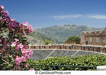 taormina greek-roman theater italy - taormina sicily italy...