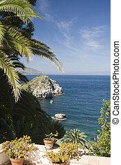 deck gardern patio over sea sicily - sicliy italy taormina...