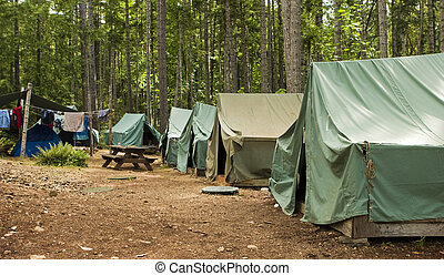 niño, explorador, camping