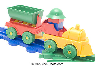 goods train - series object on white toy - railway engine...
