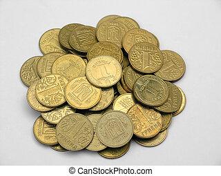 Heap of coins - Heap of gold coins (today Ukrainian money)...
