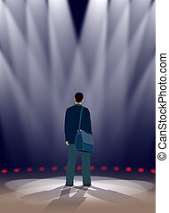 Stage - An actor is standing in spotlights on a stage