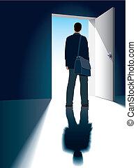 Open door - A businessman is standing in front of an open...