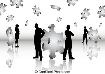 Business solutions - Silhouettes of business people...