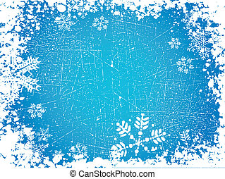 Grunge snowflakes - Grunge style background of snowflakes