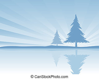 Reflections - Illustration of a tree reflected in water