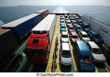 Sailing cars - Cars are parked on a ferry