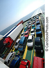 Sailing cars - Cars parked on a ferry