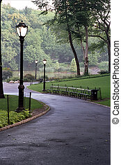 Park Lane - Empty path in Central Park at dusk.