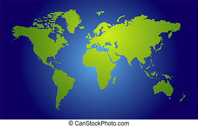 world map view - Illustration of a world map in traditional...