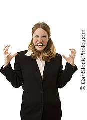 Stressed Businesswoman - Businesswoman on white looking very...