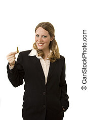 Realtor - Female realtor on white background holding a key