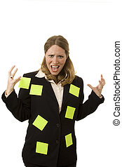 Overworked - Businesswoman on white looking stressed out...