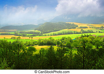Rural landscape with hills and mountains in eastern France
