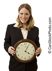 Business Clock - Businesswoman on white holding a large...