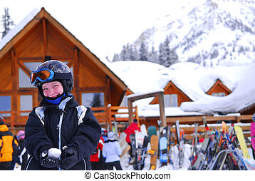 Child at downhill skiing resort - Young girl in ski gear...