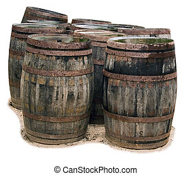 Old Barrel\\\'s - A group of antique barrels on a drop-out...