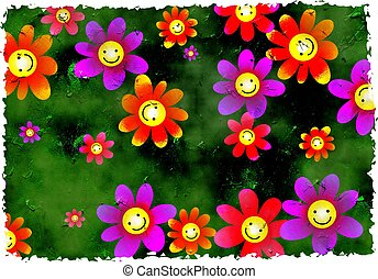 grunge flowers - happy smiling flowers grunge textured...