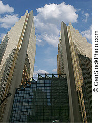 Corporate Buildings - Two big corporate buildings on blue...