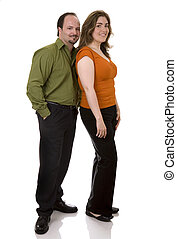 bussiness couple - business people standing on white...