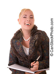 Fake laugh - Beautiful blond secretary with a very fake...