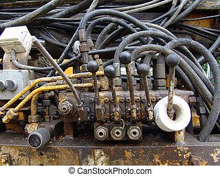 hydraulic 016 - A detail view of a hydraulic machine.
