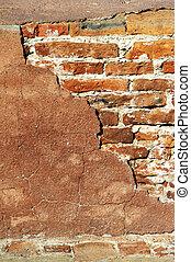 vermelho, tijolo, parede