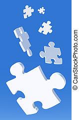 Falling Puzzle Pieces - 3D Illustration. Puzzle Pieces...