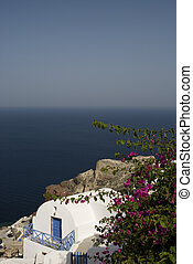 greek island house over the sea cyclades santorini