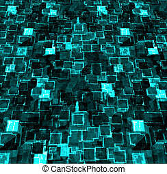 cyber abstract - a large block neon cyber city abstract...