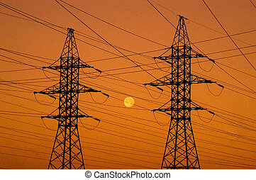 power lines - sunset with power lines and moon