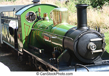 narrow gauge steam train being driven in the countryside