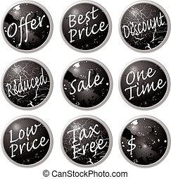 sale buttons black