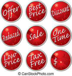 sale buttons - Illustrated collection of buttons or tags...