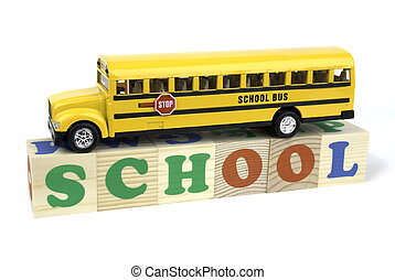 school bus - isolated concept on white background, focus...