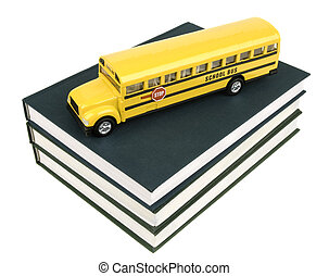 school bus and textbooks - school concept isolated on white...