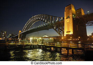 Harbour Bridge at night - Harbour Bridge in Sydney; night...